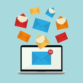 노트북 illuatration 디자인에 새로운 이메일 알림이 포함 된 메일.