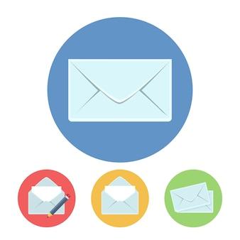 Posta scrivere, ottenere e inviare icone illustrazione vettoriale in stile piatto
