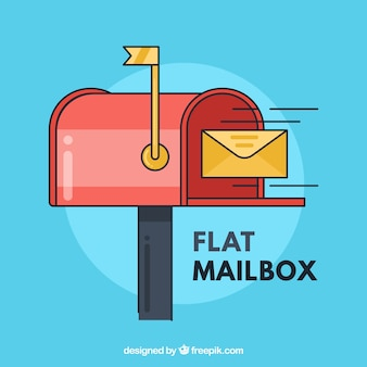 Mailbox background and yellow envelope in flat design