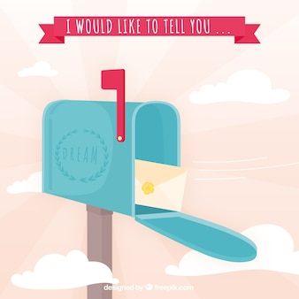 Mailbox background with envelope and message