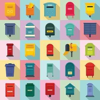 Mailbox icons set