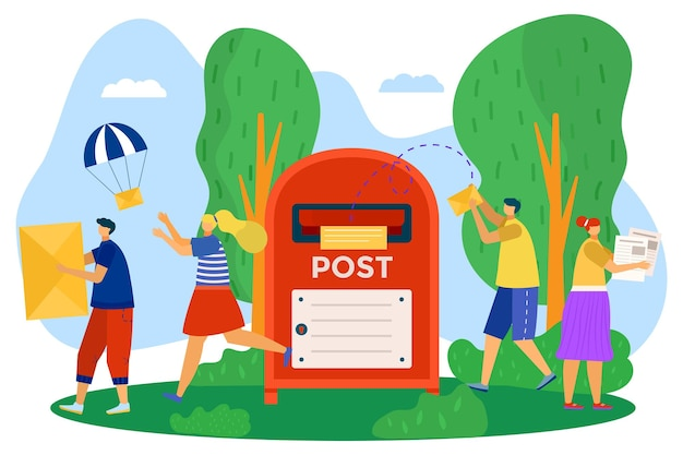 Mailbox for post, vector illustration, flat man woman character send mail envelope, communication by paper messages, girl person get correspondence