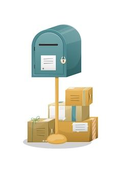 Почтовый ящик с отверстием для писем, изолированные на белом Premium векторы