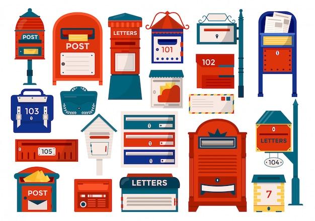 Почтовые ящики, почтовые ящики, тумбы для отправки и получения писем, корреспонденции, газет, журналов набор иллюстраций. почтовый ящик, служба доставки писем.