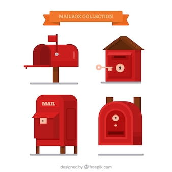Mailboxes set of different shape in flat design
