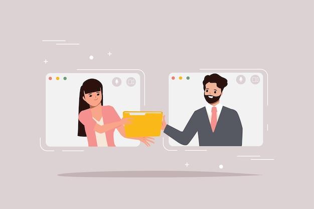 Иллюстрация рассылки с мужчиной, отправляющим документы женщине