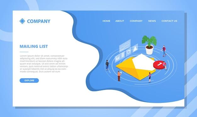 메일 링리스트 개념. 아이소 메트릭 스타일의 웹 사이트 템플릿 또는 방문 홈페이지 디자인