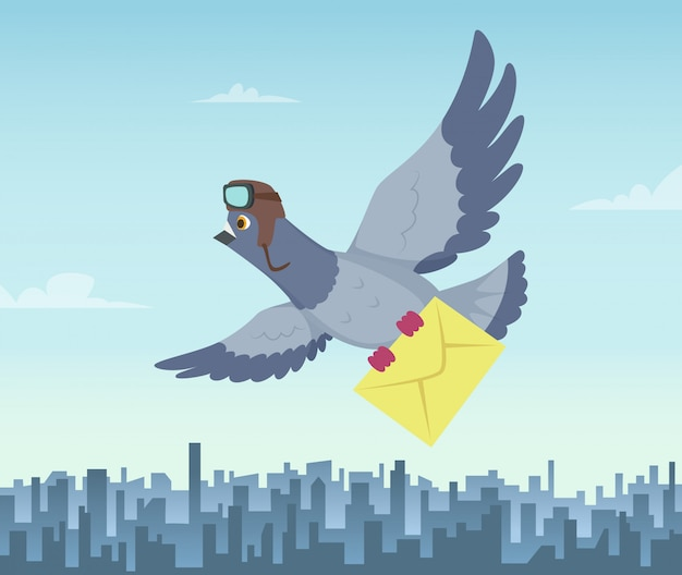 Mailing service with flying pigeons. air delivery symbols