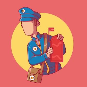メールボックスの近くに立っている郵便配達員。メール、郵便局、配達、メッセージ、連絡先、ソーシャルメディアのデザインコンセプト
