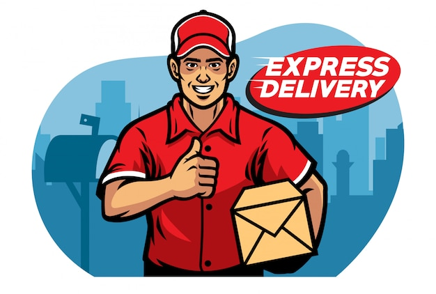 Mailman thumb up while holding the box