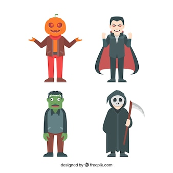 Main characters for thematic halloween design Free Vector