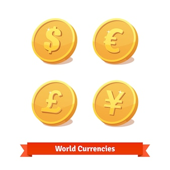 Main currencies symbols represented as gold coins