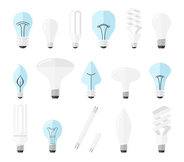 Main electric lighting types incandescent light bulb