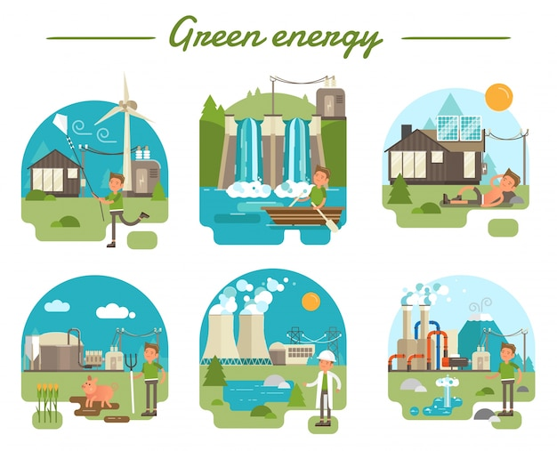Main green energy types. 6 flat style illustrated scenes with boy character