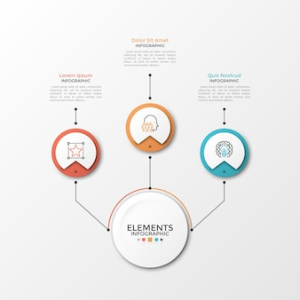 Main paper white circle connected to 3 round elements with linear symbols inside and text boxes by lines. three circular options to choose. modern infographic design template. vector illustration.