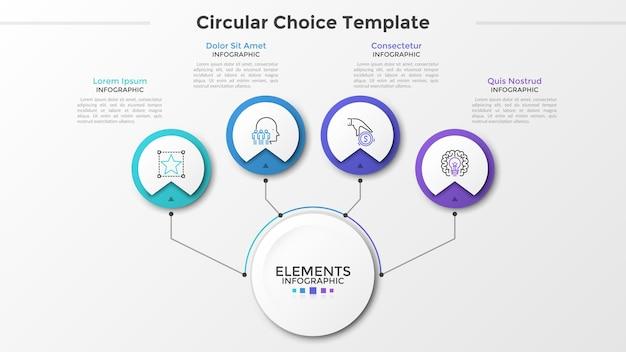 Основной бумажный белый круг, соединенный с 4 круглыми элементами с линейными символами внутри и текстовыми полями линиями. четыре круглых варианта на выбор. современный инфографический шаблон дизайна. векторная иллюстрация.