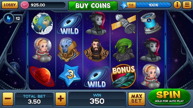 Main screen for space slot game