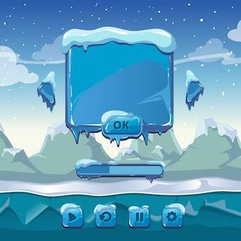 Главное меню зимней игры. интерфейс мультфильм графический интерфейс, лед и холод, кнопка приложения, векторные иллюстрации
