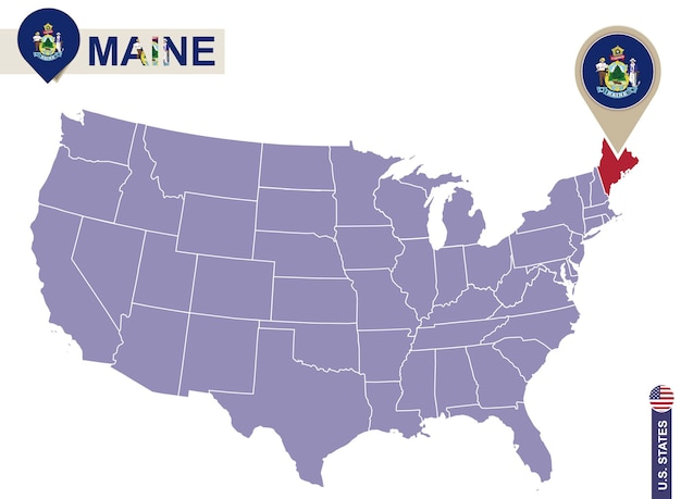 Maine state on usa map. maine flag and map. us states.