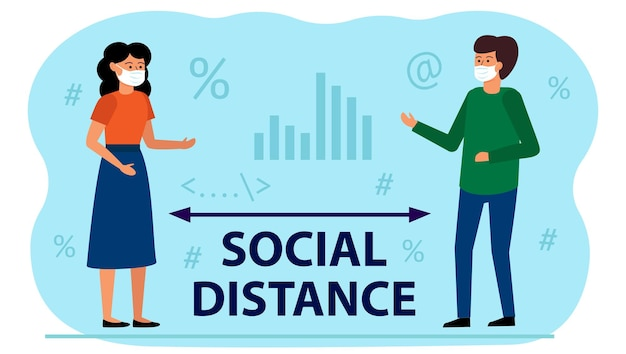 Maintaining social distance in the office between employees.