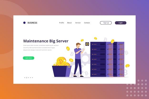 Maintenance big server illustration for cryptocurrency concept on landing page