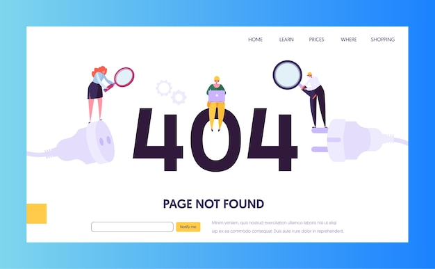 Maintenance error landing page template. page not found under construction concept with characters workers fixing internet problem for website.