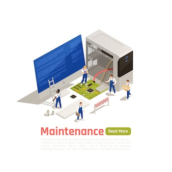 Maintenance isometric design concept with little technicians around big icon of disassembled system unit of broken computer