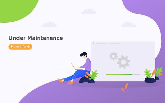 Under maintenance landing page illustration background