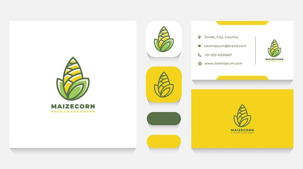 Maize corn logo template and business card