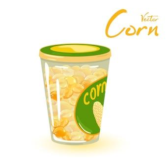 寒い季節のコンテナストアでジュースとトウモロコシの穀物