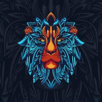 雄大なライオンイラストポスター