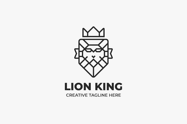Majestic lion king head monoline logo
