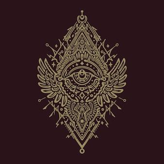 Величественный шаманский тотем мандалы дизайн