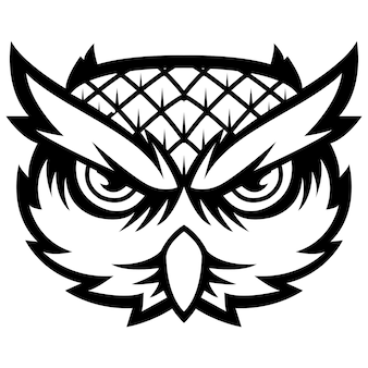 雄大な知恵の鳥owl head mascot logo