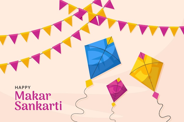 Makar sankarti background with kite and banner