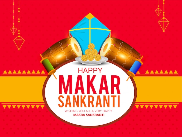 Makar sankranti card with colorful kite for festival of india.