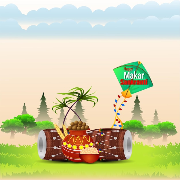 Makar sankranti creative background