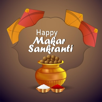 Makar sankranti creative poster with colorful kites and string spool