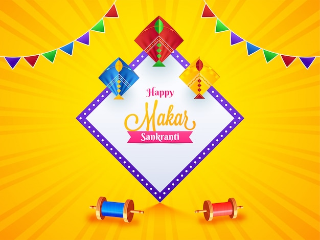 Makar sankranti festival celebration template design