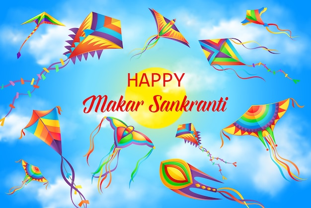 Makar sankranti festival, winter solstice hindu calendar holiday poster. harvest festival celebration background, india and nepal hinduism religion holiday banner with flying in sky kites