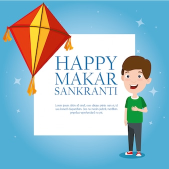 Makar sankranti greeting template with kites and boy