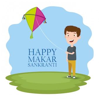 Makar sankranti greeting with boy flying a kite