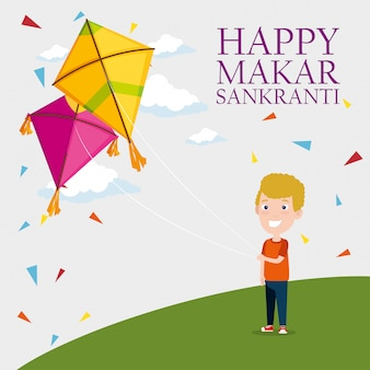 Makar sankranti greeting with boy flying a kite