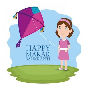 Makar sankranti greeting with girl flying a kite