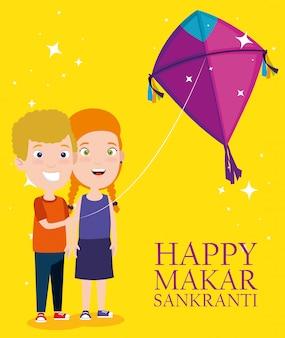 Makar sankranti greeting with kids flying kites