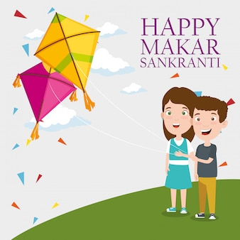 Makar sankranti greeting with kids flying kites