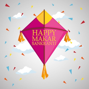 Makar sankranti greeting with kite and confetti