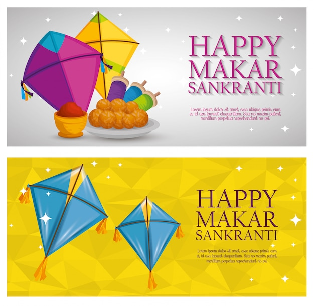 Makar sankranti greeting with kites banners