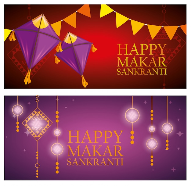 Makar sankranti greeting with kites banners