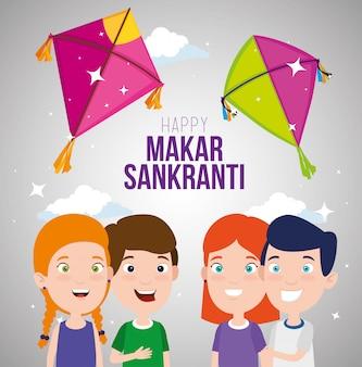 Makar sankranti greeting with kites and children